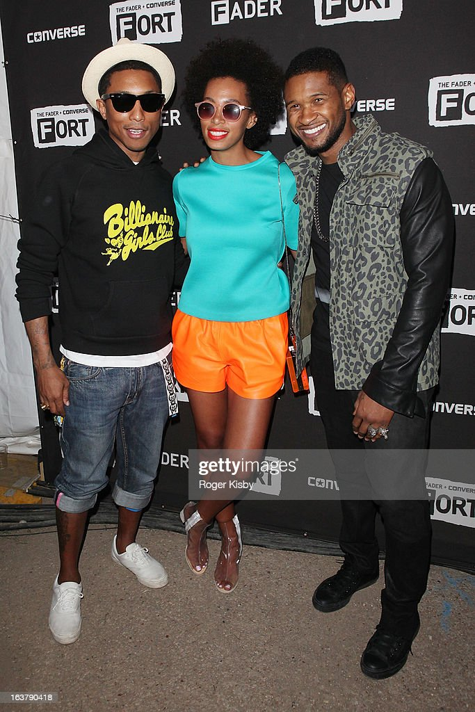 Pharrel Wiliams, Solange Knowles and Usher attend The Fader Fort presented by Converse during SXSW on March 15, 2013 in Austin, Texas.