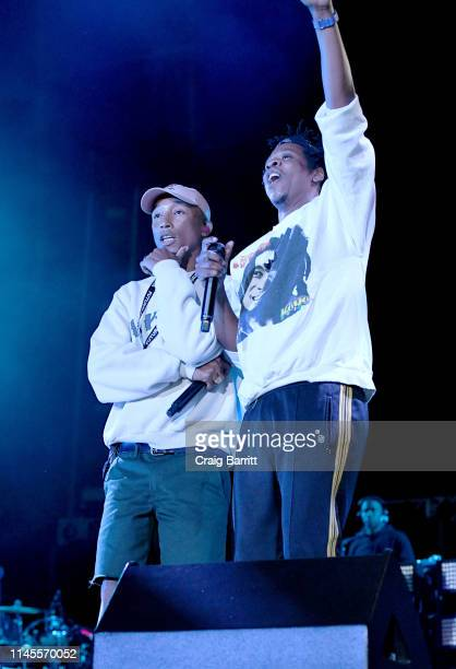 Pharrell and Jay-Z perform onstage at SOMETHING IN THE WATER - Day 2 on April 27, 2019 in Virginia Beach City.