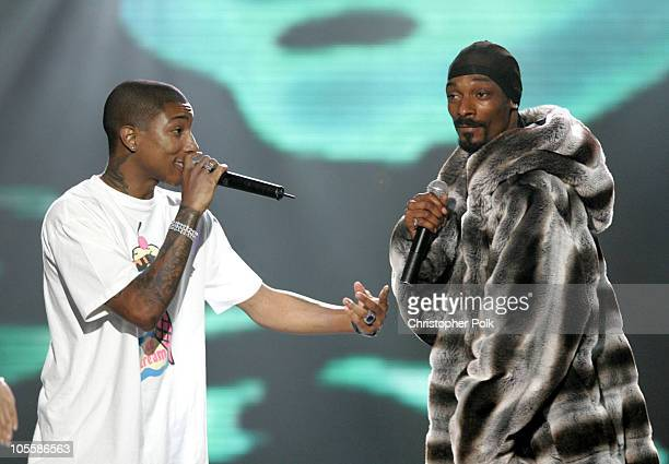 Pharrell and Snoop Dogg during Spike TV's 2nd Annual 'Video Game Awards 2004' Show Hosted by Snoop Dogg at Barker Hangar in Santa Monica California...