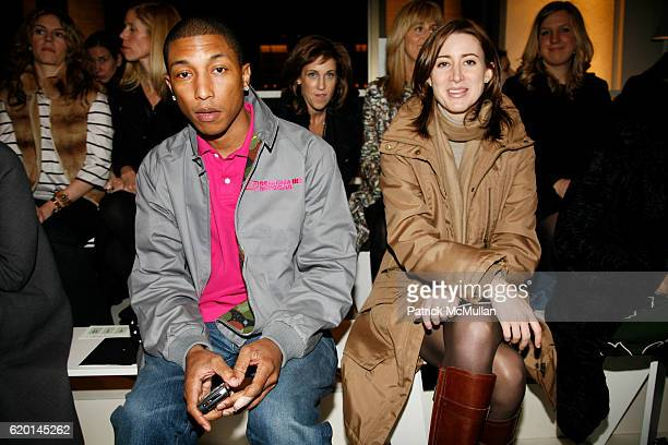Pharrell Williams and Alexis Bryan attend TOMMY HILFIGER Fall 2008 Fashion Show at Avery Fisher Hall on February 7 2008 in New York City