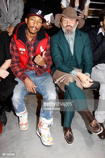 Pharrell Williams and designer Robert Rabensteiner at the Lanvin fashion show during Paris Menswear Fashion Week Autumn/Winter 2010 at Palais De...