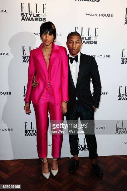 Pharrell Williams and Helen Lasichanh at the 2014 Elle Style Awards at The One Embankment London