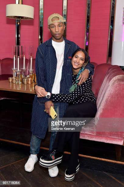 Pharrell Williams and Helen Lasichanh attend Lorraine Schwartz launches The Eye Bangle a new addition to her signature Against Evil Eye Collection at...