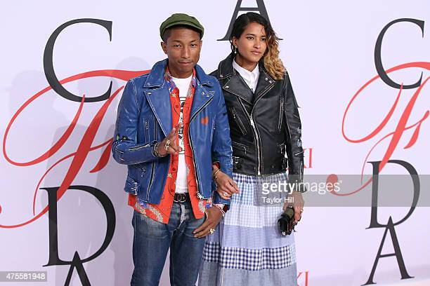 Pharrell Williams and Helen Lasichanh attend the 2015 CFDA Awards at Alice Tully Hall at Lincoln Center on June 1 2015 in New York City