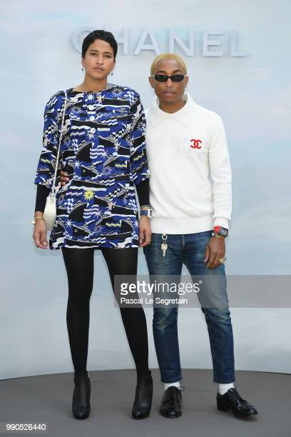 Pharrell Williams and Helen Lasichanh attend the Chanel Haute Couture Fall Winter 2018/2019 show as part of Paris Fashion Week on July 3 2018 in...