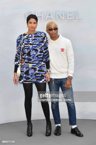 Pharrell Williams and Helen Lasichanh attends the Chanel Haute Couture Fall/Winter 20182019 show as part of Haute Couture Paris Fashion Week on July...