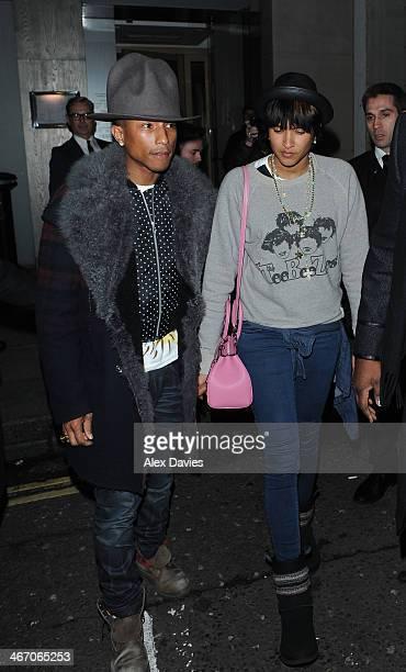 Pharrell Williams and Helen Lasichanh sighting leaving Nobu Restaurant on February 5 2014 in London England