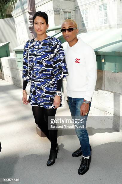 Pharrell Williams and his wife Helen Lasichanh attend the Chanel Haute Couture Fall Winter 2018/2019 show as part of Paris Fashion Week on July 3...