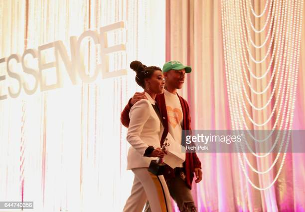 Pharrell Williams and honoree Janelle Monae with the 'Breakthrough Award' at Essence Black Women in Hollywood Awards at the Beverly Wilshire Four...