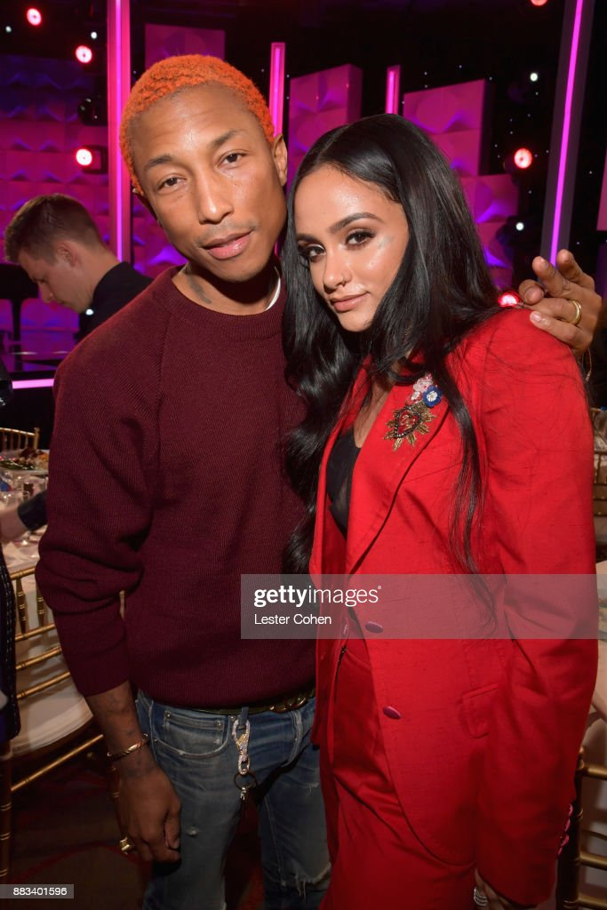 Pharrell Williams (L) and honoree Kehlani attend Billboard Women In Music 2017 at The Ray Dolby Ballroom at Hollywood & Highland Center on November 30, 2017 in Hollywood, California.