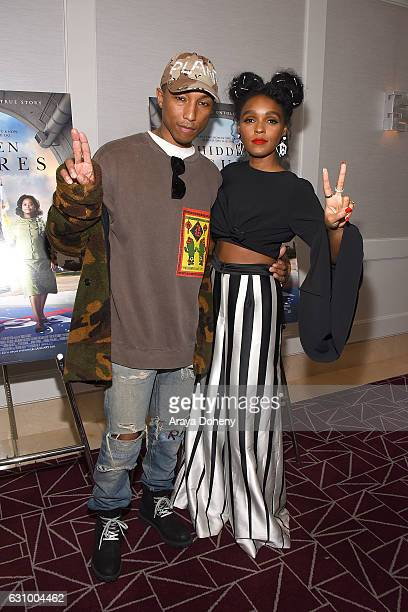 """Pharrell Williams and Janelle Monae attend a screening and Q&A for 20th Century Fox's """"Hidden Figures"""" at The London West Hollywood on January 4,..."""