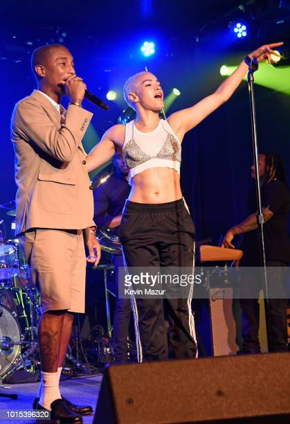 Pharrell Williams and Mette Towley perform onstage during Apollo in the Hamptons 2018 Hosted by Ronald O Perelman at The Creeks on August 11 2018 in...