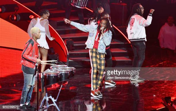 Pharrell Williams and Migos perform onstage during the NBA AllStar Game 2018 at Staples Center on February 18 2018 in Los Angeles California