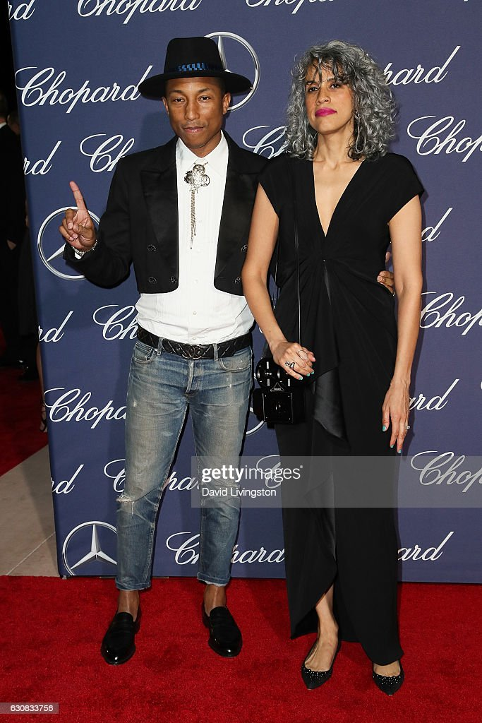 Pharrell Williams and Mimi Valdes arrive at the 28th Annual Palm Springs International Film Festival Film Awards Gala at the Palm Springs Convention Center on January 2, 2017 in Palm Springs, California.
