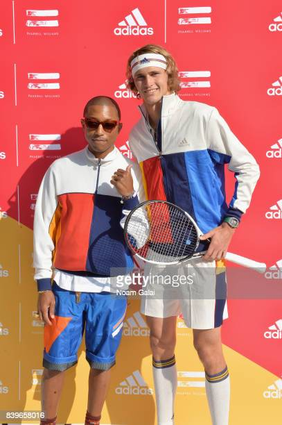 Pharrell Williams and professional tennis player Sascha Zverev attend adidas Tennis Pharrell Williams Don't Be Quiet Please Event at Frederick...