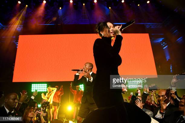 Pharrell Williams and Rihanna perform on stage during Rihanna's 5th Annual Diamond Ball Benefitting The Clara Lionel Foundation at Cipriani Wall...