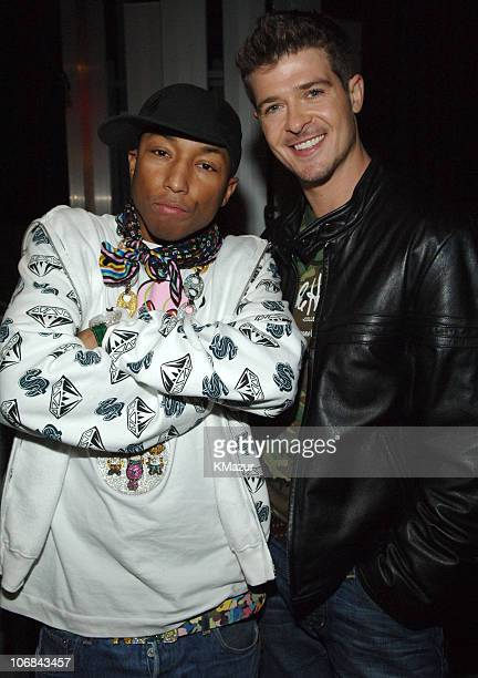 Pharrell Williams and Robin Thicke during Usher Pharrell Williams Kanye West Robin Thicke Click 5 Visit MTV's 'TRL' November 7 2005 at TRL Studios in...