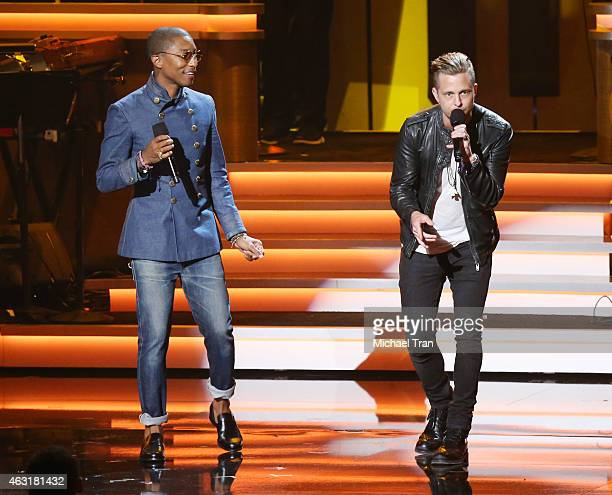 Pharrell Williams and Ryan Tedder perform onstage during the Stevie Wonder Songs In The Key Of Life An AllStar GRAMMY Salute held at Nokia Theatre LA...
