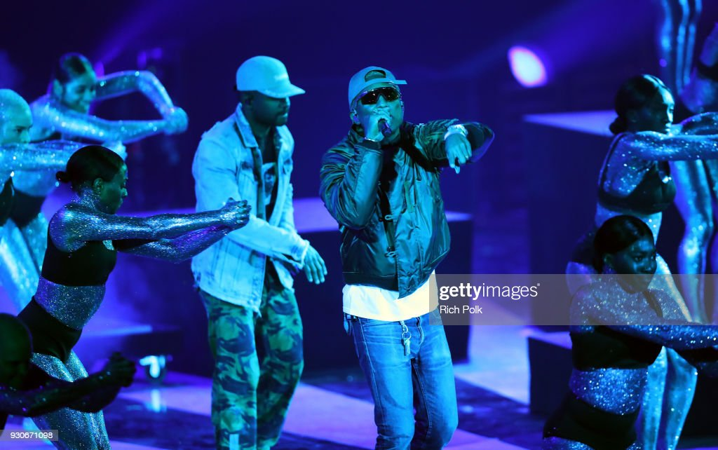 Pharrell Williams (R) and Shay Haley of N.E.R.D perform onstage during the 2018 iHeartRadio Music Awards which broadcasted live on TBS, TNT, and truTV at The Forum on March 11, 2018 in Inglewood, California.