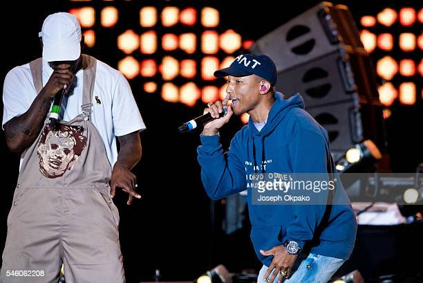 Pharrell Williams and Skepta of Boy Better Know perform on Day 3 of Wireless Festival at Finsbury Park on July 10 2016 in London England