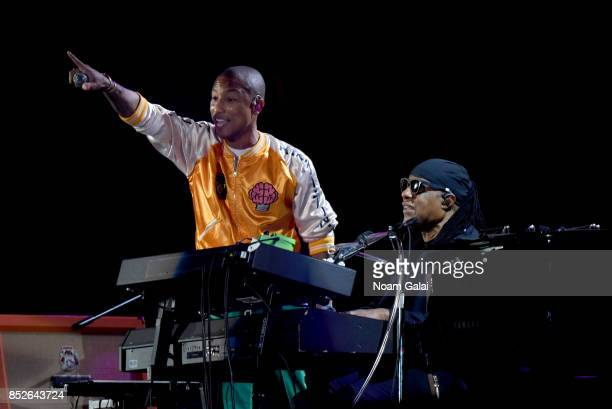Pharrell Williams and Stevie Wonder perform onstage during the 2017 Global Citizen Festival: For Freedom. For Justice. For All. In Central Park on...