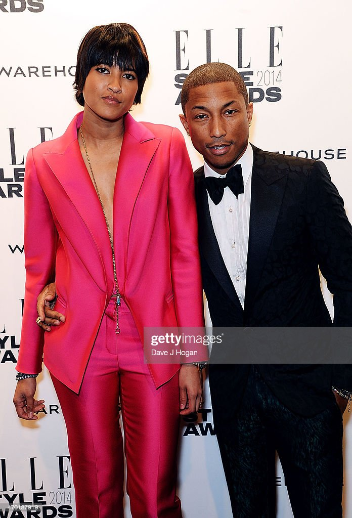 Pharrell Williams (R) and wife Helen Lasichanh attend the Elle Style Awards 2014 at one Embankment on February 18, 2014 in London, England.
