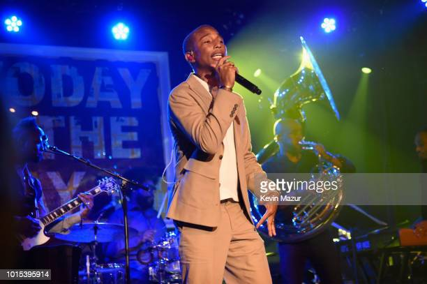 Pharrell Williams attends Apollo in the Hamptons 2018 Hosted by Ronald O Perelman at The Creeks on August 11 2018 in East Hampton New York