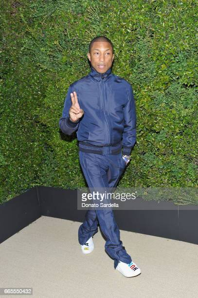 Pharrell Williams attends Caroline De Maigret and Pharrell Williams dinner in celebration of CHANEL's Gabrielle Bag at Giorgio Baldi on April 6 2017...