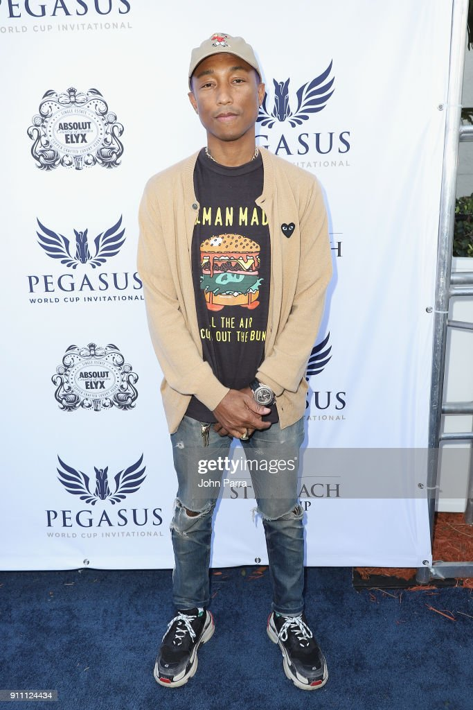 Pharrell Williams attends The $16 Million Pegasus World Cup Invitational, The World's Richest Thoroughbred Horse Race at Gulfstream Park on January 27, 2018 in Hallandale, Florida.