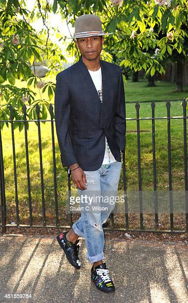 Pharrell Williams attends the annual Serpentine Galley Summer Party at The Serpentine Gallery on July 1 2014 in London England