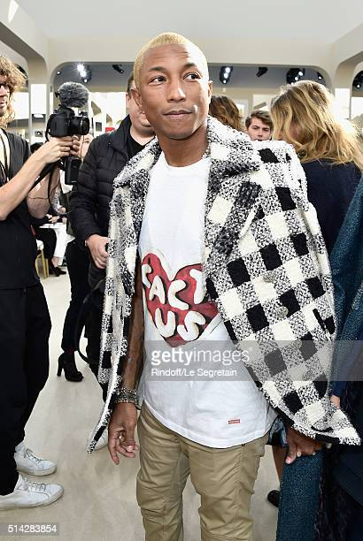 Pharrell Williams attends the Chanel show as part of the Paris Fashion Week Womenswear Fall/Winter 2016/2017 on March 8 2016 in Paris France