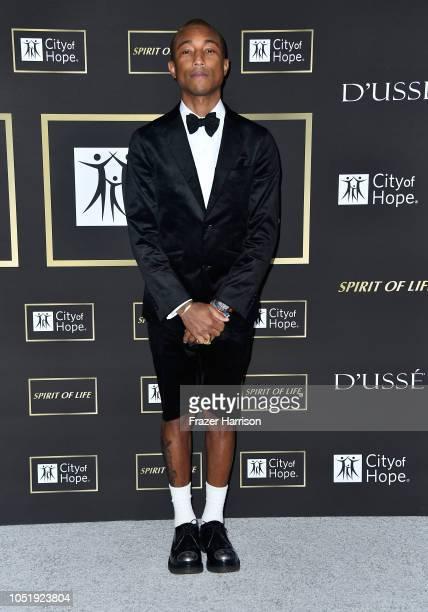 Pharrell Williams attends the City of Hope Spirit of Life Gala 2018 at Barker Hangar on October 11 2018 in Santa Monica California