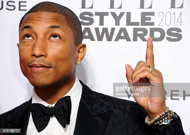 Pharrell Williams attends the Elle Style Awards 2014 at one Embankment on February 18 2014 in London England