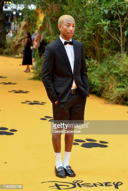 """Pharrell Williams attends the European Premiere of Disney's """"The Lion King"""" at Odeon Luxe Leicester Square on July 14, 2019 in London, England."""