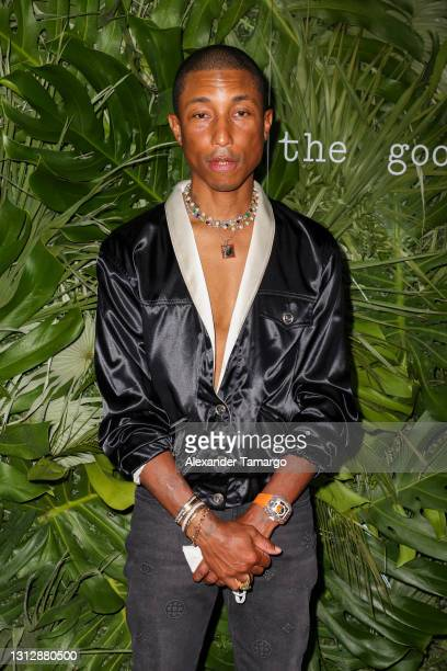 Pharrell Williams attends the Inter Miami CF Season Opening Party Hosted By David Grutman And Pharrell Williams at The Goodtime Hotel on April 16,...