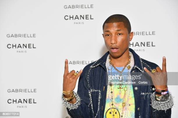 Pharrell Williams attends the launch party for Chanel's new perfume 'Gabrielle' as part of Paris Fashion Week on July 4 2017 in Paris France