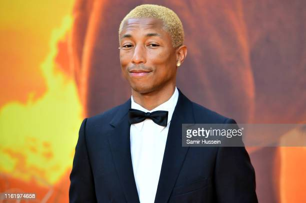Pharrell Williams attends The Lion King European Premiere at Leicester Square on July 14 2019 in London England