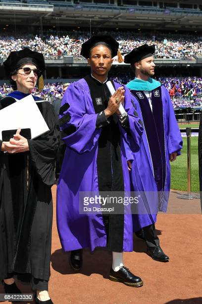 Pharrell Williams attends the New York University 2017 Commencement at Yankee Stadium on May 17, 2017 in the Bronx borough of New York City.