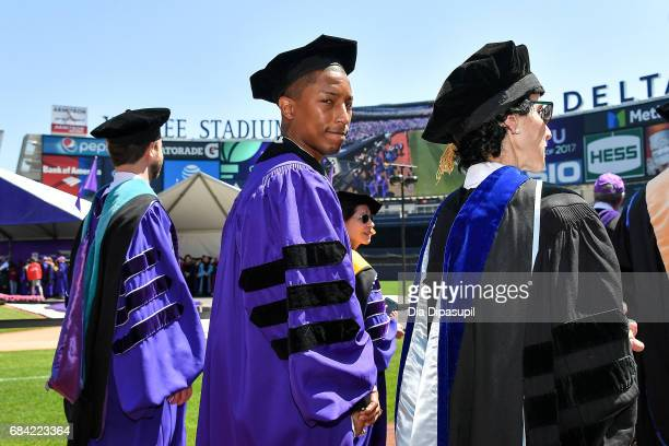 Pharrell Williams attends the New York University 2017 Commencement at Yankee Stadium on May 17 2017 in the Bronx borough of New York City