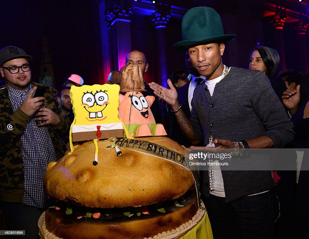 Pharrell Williams attends the SpongeBob SquarePants themed, 41st birthday party for Pharrell Williams at Bikini Bottom at Cipriani Wall Street on April 4, 2014 in New York City.
