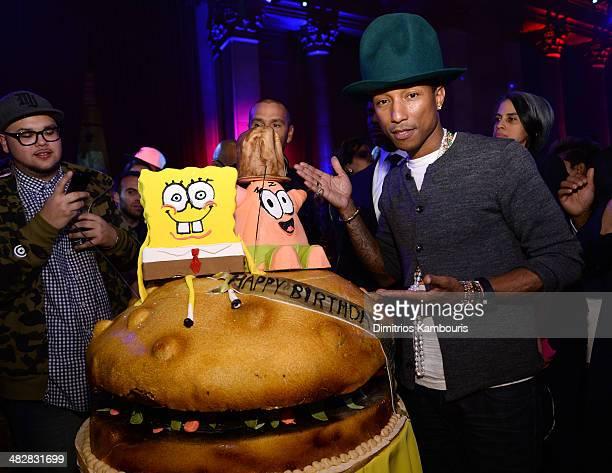 Pharrell Williams attends the SpongeBob SquarePants themed 41st birthday party for Pharrell Williams at Bikini Bottom at Cipriani Wall Street on...