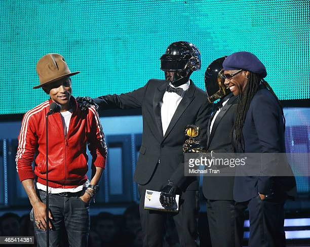 Pharrell Williams Daft Punk's Thomas Bangalter and GuyManuel de HomemChristo and musician Nile Rodgers accept award onstage during the 56th GRAMMY...