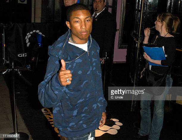 Pharrell Williams during Gizmondo Launch Party Arrivals at Sheraton Park Lane Hotel in London Great Britain