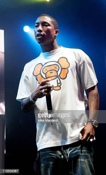 Pharrell Williams during Gizmondo MultiMedia Handheld Launch Party Show at Park Lane Hotel in London United Kingdom