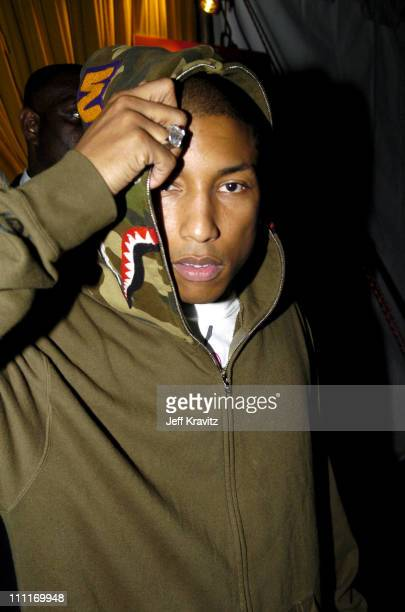 Pharrell Williams during Spike TV's 2nd Annual Video Game Awards 2004 Backstage at Barker Hangar in Santa Monica California United States