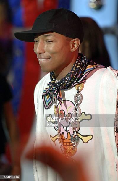 Pharrell Williams during Usher Pharrell Williams Kanye West Robin Thicke Click 5 Visit MTV's 'TRL' November 7 2005 at TRL Studios in New York New...