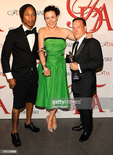 Pharrell Williams Garance Dore and Scott Schuman attend 2012 CFDA Fashion Awards at Alice Tully Hall on June 4 2012 in New York City