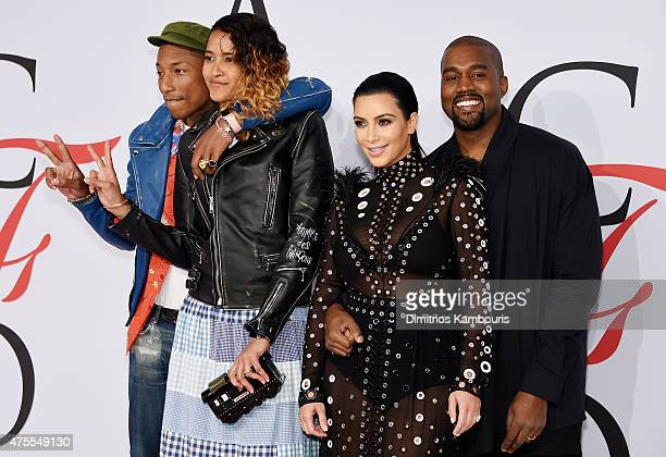 Pharrell Williams Helen Lasichanh Kim Kardashian and Kanye West attend the 2015 CFDA Fashion Awards at Alice Tully Hall at Lincoln Center on June 1...