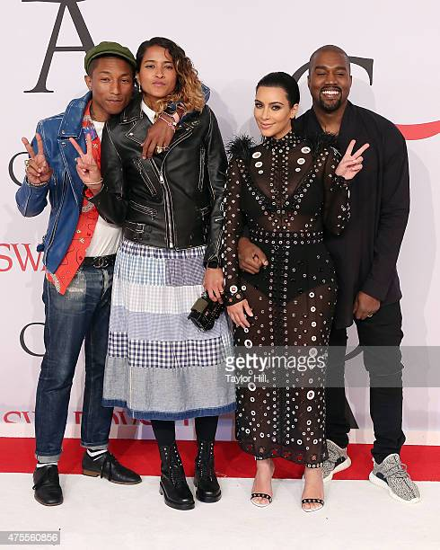 Pharrell Williams Helen Lasichanh Kim Kardashian West and Kanye West attend the 2015 CFDA Awards at Alice Tully Hall at Lincoln Center on June 1 2015...