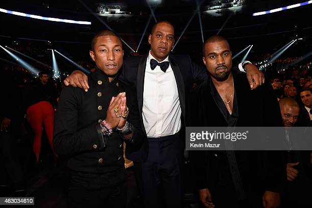 Pharrell Williams Jay Z and Kanye West attend The 57th Annual GRAMMY Awards at STAPLES Center on February 8 2015 in Los Angeles California